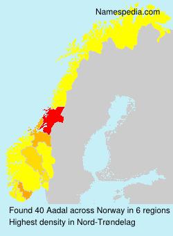 Familiennamen Aadal - Norway