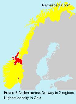 Familiennamen Aaden - Norway