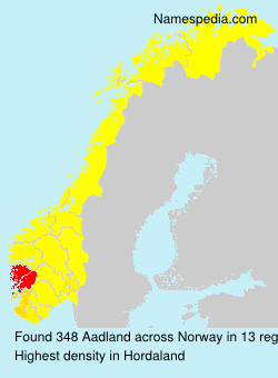 Surname Aadland in Norway
