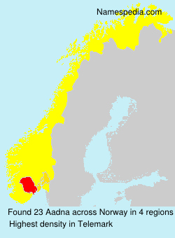 Surname Aadna in Norway