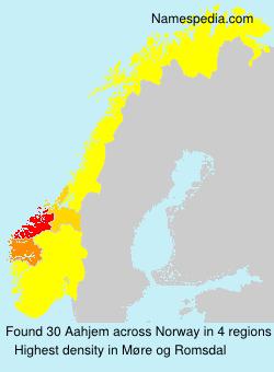 Familiennamen Aahjem - Norway