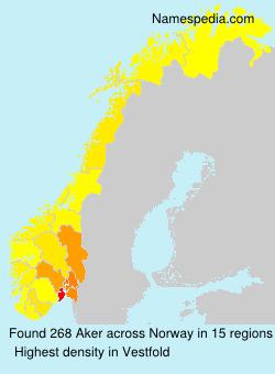 Familiennamen Aker - Norway