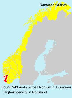 Surname Anda in Norway