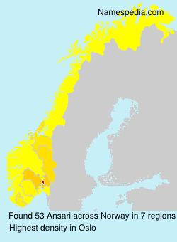 Familiennamen Ansari - Norway