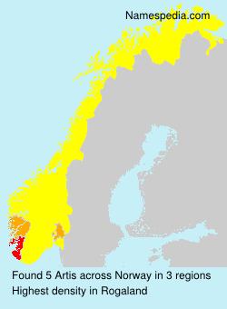 Surname Artis in Norway