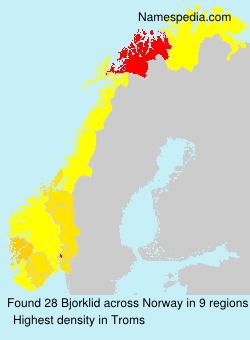 Surname Bjorklid in Norway