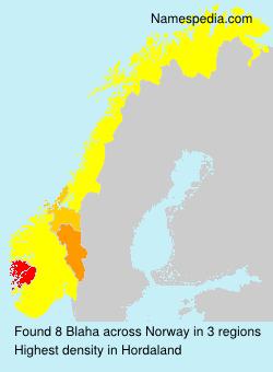 Familiennamen Blaha - Norway
