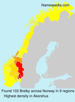 Surname Breiby in Norway
