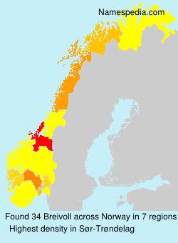 Surname Breivoll in Norway