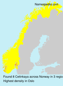 Surname Cetinkaya in Norway