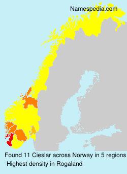 Surname Cieslar in Norway