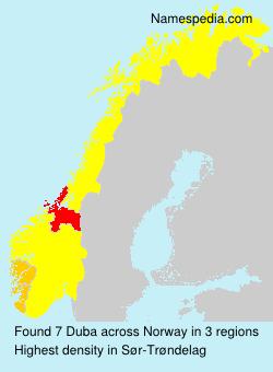 Familiennamen Duba - Norway