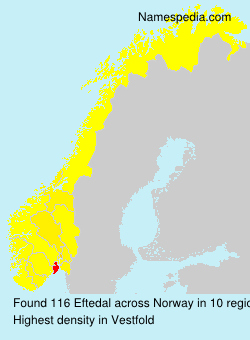 Surname Eftedal in Norway