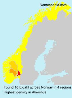 Surname Eidahl in Norway
