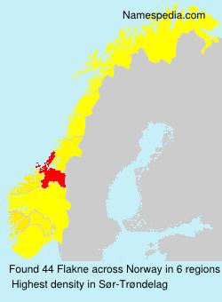 Surname Flakne in Norway