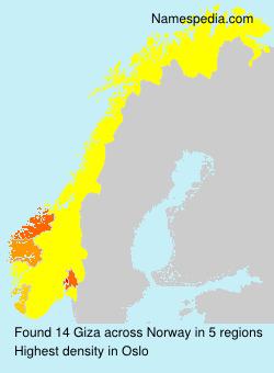 Familiennamen Giza - Norway