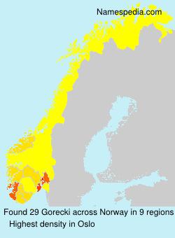 Surname Gorecki in Norway