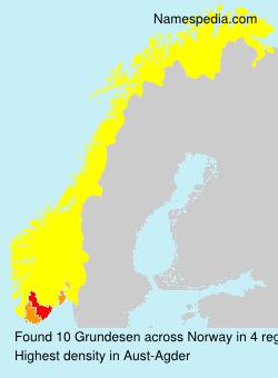Surname Grundesen in Norway