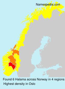 Surname Halama in Norway