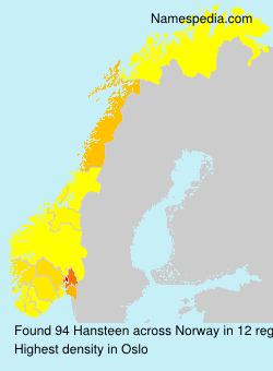 Surname Hansteen in Norway