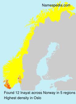 Familiennamen Inayat - Norway