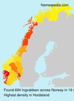 Surname Ingvaldsen in Norway