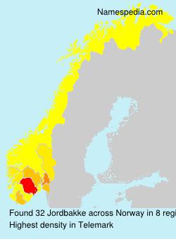 Surname Jordbakke in Norway