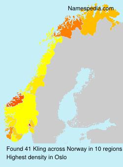 Familiennamen Kling - Norway