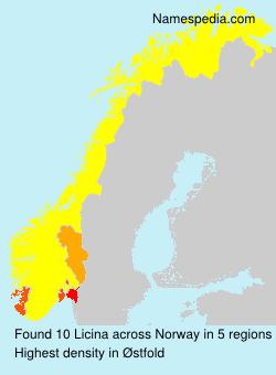 Familiennamen Licina - Norway