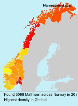 Surname Mathisen in Norway