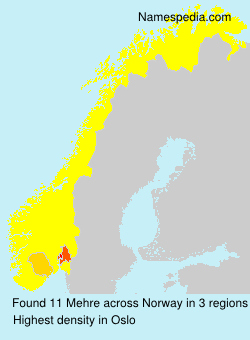 Surname Mehre in Norway