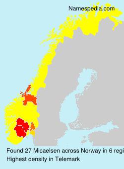 Surname Micaelsen in Norway