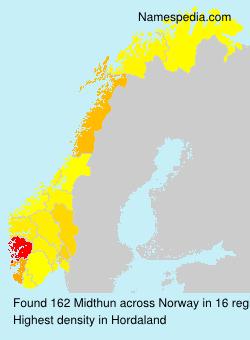 Surname Midthun in Norway