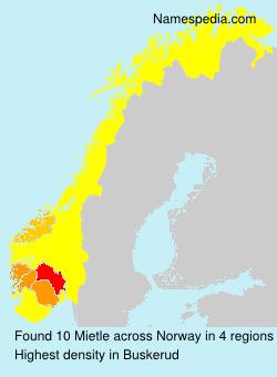 Familiennamen Mietle - Norway