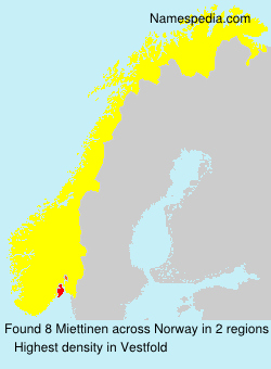 Surname Miettinen in Norway