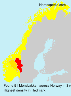 Surname Monsbakken in Norway