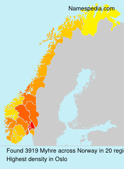 Surname Myhre in Norway