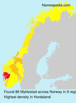 Surname Myklestad in Norway