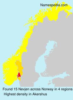 Surname Nevjen in Norway
