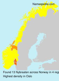 Surname Nybraaten in Norway