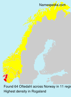 Surname Oftedahl in Norway
