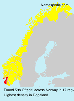 Surname Oftedal in Norway