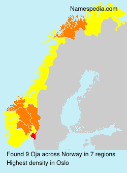 Surname Oja in Norway
