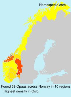 Familiennamen Opaas - Norway