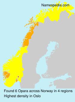 Familiennamen Opara - Norway