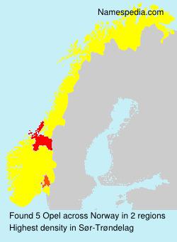 Surname Opel in Norway