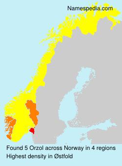 Familiennamen Orzol - Norway
