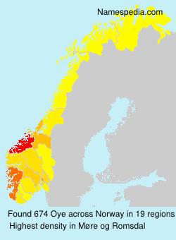 Surname Oye in Norway