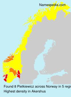 Surname Pietkiewicz in Norway