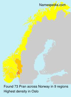 Surname Pran in Norway